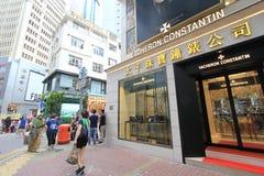 铜锣湾街道视图在香港 免版税库存照片