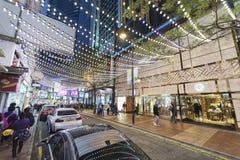 铜锣湾,香港夜视图  免版税库存图片