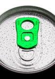 铝与露滴的苏打饮料罐子顶视图 图库摄影