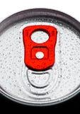 铝与露滴的苏打饮料罐子顶视图 库存照片