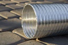 铝波纹状的管道 库存图片