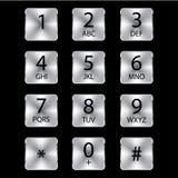 铝电话正方形按钮 免版税库存照片