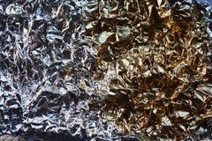 铝芯纹理 滑翔视图 半金子,半银 免版税库存图片