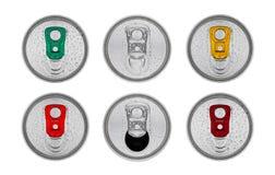 铝苏打饮料装罐与露滴的顶视图 免版税库存图片