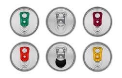 铝被隔绝的苏打饮料罐子顶视图 免版税图库摄影