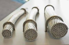铝高压电缆样品 免版税图库摄影