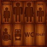 铝洗手间标志。男人和妇女WC板材 库存图片