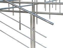 铬有扶手栏杆的金属篱芭 免版税库存图片