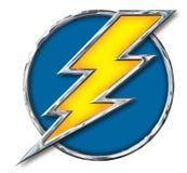 铬黄在蓝色圈子的雷电在白色 免版税库存照片