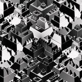 铭刻象未来派城市在黑白 免版税库存照片