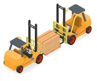 铲车举起有纸板箱的板台 免版税库存照片