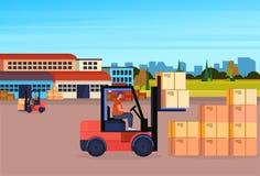 铲车司机装载者板台堆货机卡车设备仓库围场外部交付概念水平的舱内甲板 向量例证
