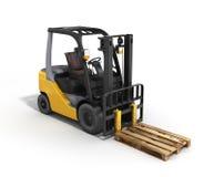 铲车在白色3D的装载者板台回报 库存例证