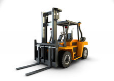 铲车被隔绝的起重机 免版税库存图片
