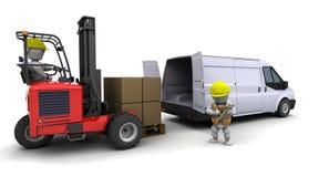 铲车装载人卡车有篷货车 库存例证
