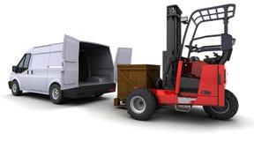铲车装载卡车有篷货车 库存例证