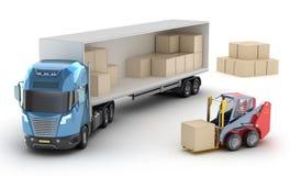 铲车装载卡车 库存例证