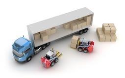 铲车装载卡车 皇族释放例证