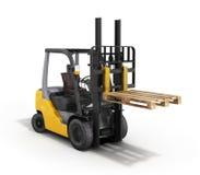 铲车装载者培养了在白色3D隔绝的板台回报 库存例证