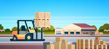 铲车装载者板台堆货机卡车设备仓库国际交付概念平的水平的横幅 向量例证