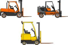 铲车 重型建筑机器 向量 免版税库存照片