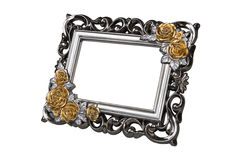 银与玫瑰色装饰的被雕刻的画框 库存图片