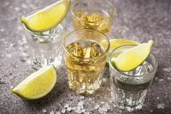银和金子龙舌兰酒射击  图库摄影