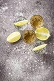 银和金子龙舌兰酒射击  免版税库存图片