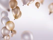 银和金气球 库存照片