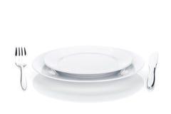 银器或扁平的餐具套叉子、刀子和板材 库存图片