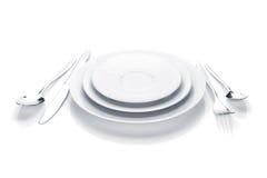 银器或扁平的餐具套叉子、刀子和板材 图库摄影