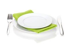 银器或扁平的餐具套叉子和刀子有板材的 库存照片