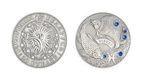 银币占星术标志双鱼座 免版税库存图片