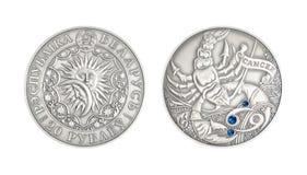 银币占星术标志Canver 免版税图库摄影