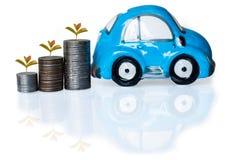 银币和汽车存钱罐 免版税图库摄影