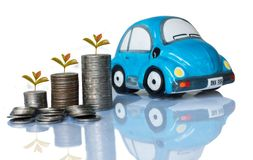 银币和汽车存钱罐 库存图片