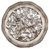 银币在盘子的 免版税图库摄影