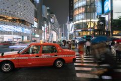 银座拥挤的街视图在东京 库存照片
