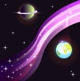银河、星和两个行星 免版税库存照片