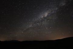 银河上升在安地斯山的山上的,阿根廷 免版税图库摄影