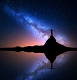 银河和人岩石的 星系,宇宙 库存图片