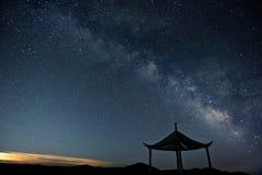 银河星在晚上 免版税库存照片