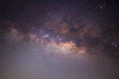 银河星系,长的曝光照片的中心 免版税库存图片