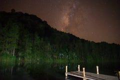 银河风景在水库的与山 免版税库存图片