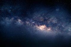 银河,星系天空自然背景在晚上 免版税图库摄影