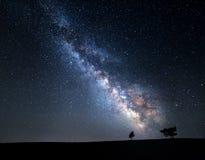 银河 与星的美丽的夏夜天空在克里米亚 库存照片