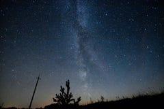 银河 与星的美丽的夏夜天空 库存照片