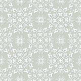 银灰色和白色锦缎无缝的样式 维多利亚女王时代的老牌,豪华装饰品 免版税库存图片