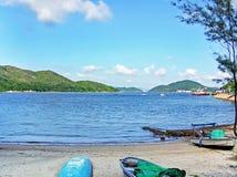 银矿海湾海滩在Lantau香港海岛上的梅窝  免版税库存照片
