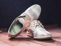 银穿上鞋子意大利人鞋子妇女鞋子 库存照片